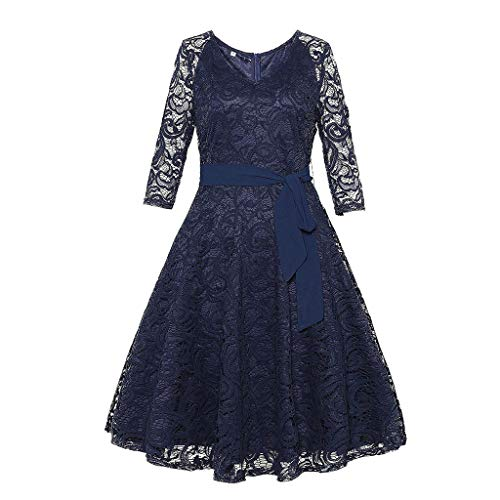 Nadition Ladies Dress,Fashion Women Vintage Princess Dress Floral Lace Cocktail O-Neck Party Aline Swing Dress ()
