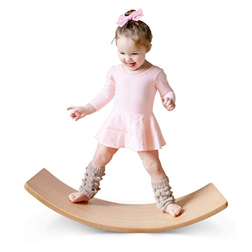 HAN-MM Wooden Balance Board Wobbel Balance Board Kid Yoga Board Curvy Board - Wooden Rocker Board 35 Inch Kid Size (Natural)