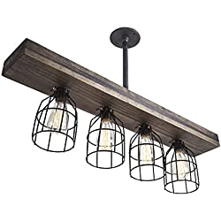 West Ninth Vintage Pendant Farmhouse Chandelier Fixture | Fayette Wood Triple Wood Light Mixed With Stained Wood Beam And Metal Light Cages