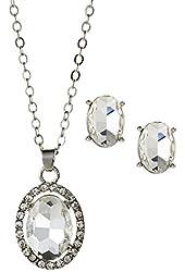 Anne Klein 'Fancy Me' Oval CZ Necklace & Studs Gift Set, Clear