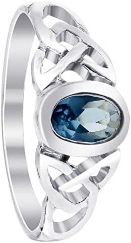 Gem Avenue Sterling Silver Aquamarine Color Cubic Zirconia Oval Celtic Knot Design Ring