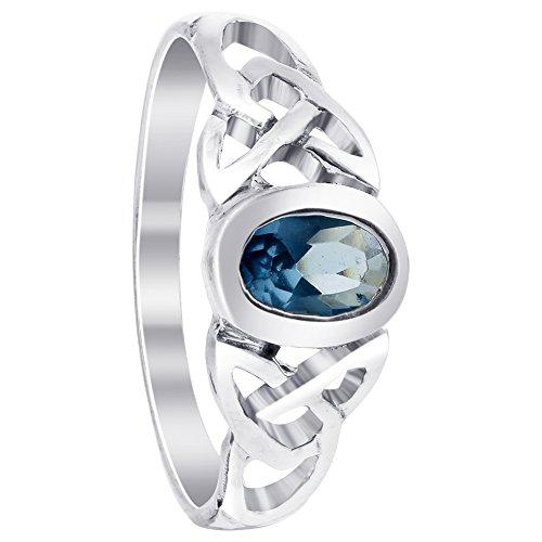 Gem Avenue 925 Sterling Silver Oval Aquamarine Color Cubic Zirconia Celtic Knot Design Ring -