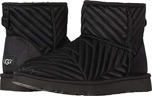 - UGG Womens Classic Mini Quilted Satin Boot, Black, Size 6