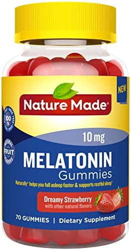 Nature Made Melatonin 10 mg Gummies, 70 Count for Supporting Restful Sleep†