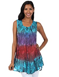 Sakkas Ombre Floral Tie Dye Flared Hem Sleeveless Cotton Tunic Blouse