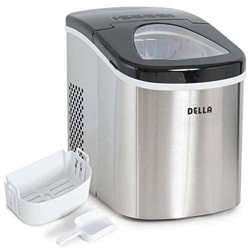 Della Portable Top Load Electric Ice Maker Produces up to 26 lbs. of Ice Daily, 2-Size Black / Stainless Steel