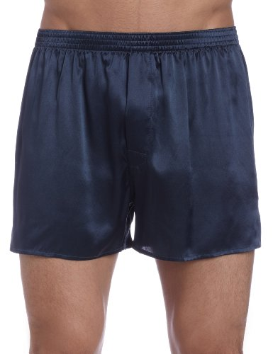 Intimo Men's Classic Silk Boxers, Slate Grey, Large