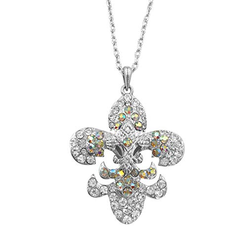 (Gypsy Jewels Fleur De Lis with Rhinestones on Chain Necklace (Triple Layer Clear & AB)