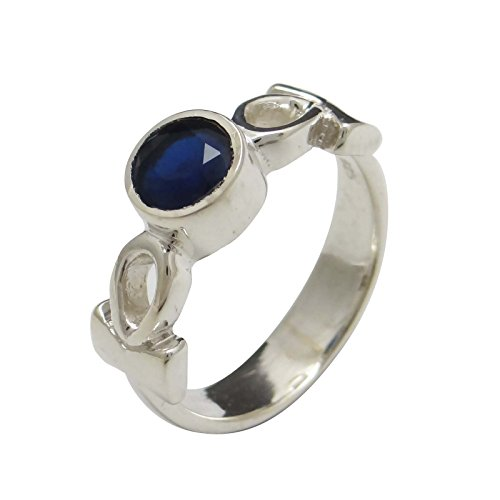 Banithani 925 Pure Silver Sapphire Stone Ring Indian Fashion Jewelry Gift For Women