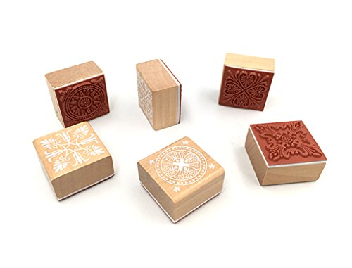 Floral Patterns Diary Stamp Set,Square Wooden Rubber Flower Signet Lace Stamp for DIY Scrapbooking Album Card Making(6pcs with Different Patterns)