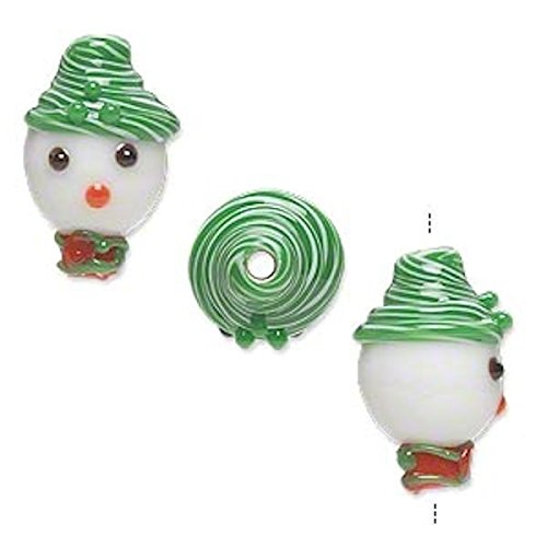 2 Lampwork Glass Snowman Head with Green Hat Beads for Jewel
