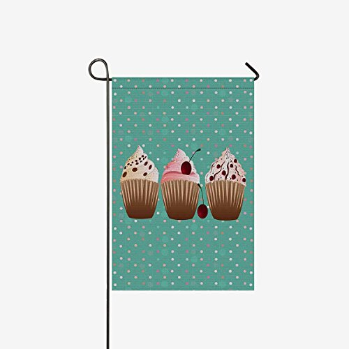 InterestPrint Sweet Cupcakes Desserts with Polka Dots Garden Flag Home House Banner Decorative Flags Best for Party Yard Home Outdoor Decor 12