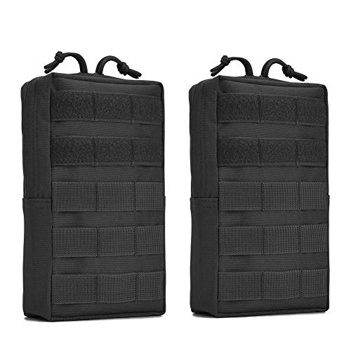 Tactical Molle Pouch 2 Pack Military Compact Utility EDC Pouches for Tactical Backpack Assault Rig Vest Black ()