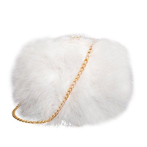 Feather Bag (Mogor Women's Faux Fur Fluffy Feather Round Clutch Shoulder Bag White)