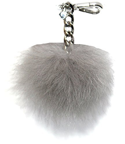 (Michael Kors Medium Fur Pom Pom Charm Keychain FOB (Pearl)