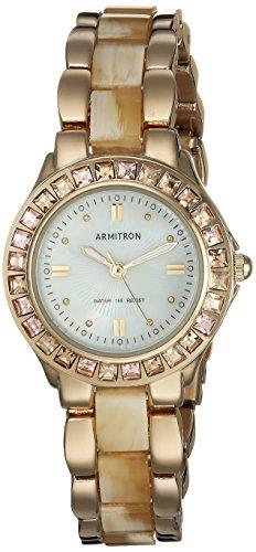 - Armitron Women's 75/3689CMGPHN Swarovski Crystal Accented Gold-Tone Horn Bracelet Watch