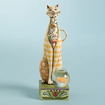 Enesco Jim Shore Heartwood Creek from Tall Cat with Fishbowl Figurine 7.75 in
