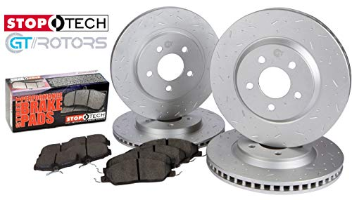 [Front & Rear Kit] Stoptech Posi-Quiet Ceramic Brake Pads & GT//Rotors Slotted Dimpled Brake Disc Rotors for Ford Mustang GT 2005-2010 & Ford Mustang V6 ()