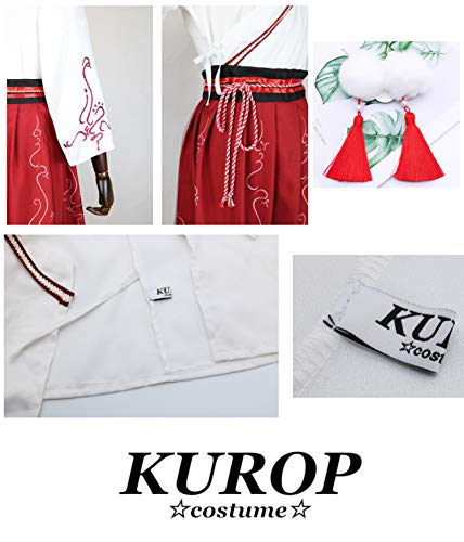 Kurop Women's Ancient Chinese Traditional Hanfu Dress Embroidered Cosplay Costume Accessory Set