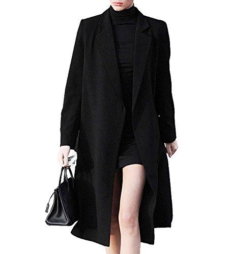 Hego Women's 2017 Spring Black Loose Long Wool Coat H2976