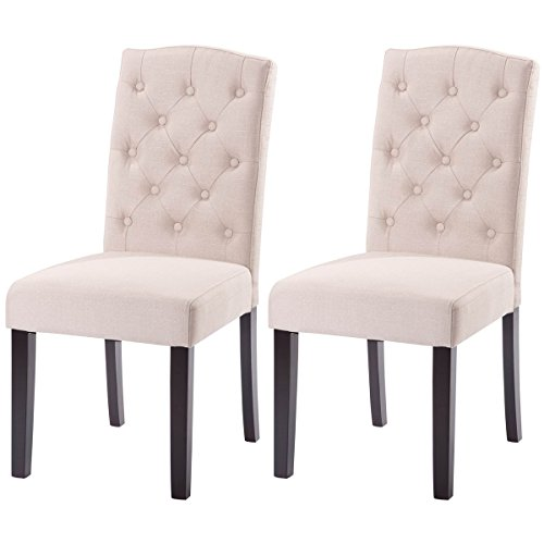 Giantex Set of 2 Linen Fabric Wood Accent Dining Chair Tufted Modern Living Room (Beige)