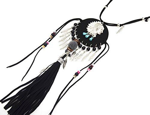 CL1307F - Sautoir Collier Double Cordon Noir et Pendentif Cercle Feutrine Indien Métal Argenté avec Plumes Ethnique et Franges