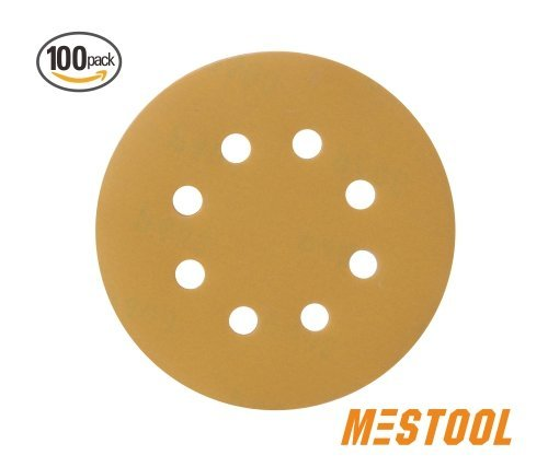 Mestool 58-AP Gold 5-Inch 8-Hole 400 Grit Dustless Hook&Loop 100-pack (Grit Hook 400)