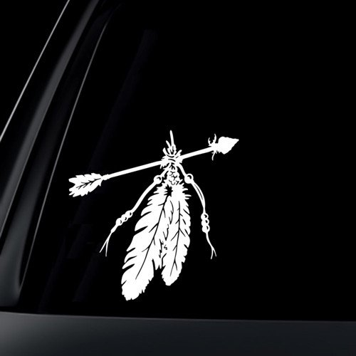 Feather Bald Eagle Native American Car Decal Sticker 5 Diameter