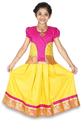 - kaatru Thana Silk Girls Pavadai Set D22 - Lehenga Choli (Pink & Yellow) (9-10 Y)