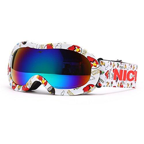 SE7VEN Lunettes De Ski Extérieur,Double Couche Anti-buée Jeunesse Enfants Snowboard Goggle Sphériques Bonne Vision Claire Otg K