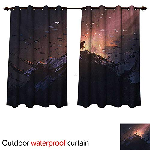 Fantasy World 0utdoor Curtains for Patio Waterproof Howling Wolf on Rock Surrounded by Bats Birds Scary Dog Wild Life Animals Art W84 x L72(214cm x 183cm)