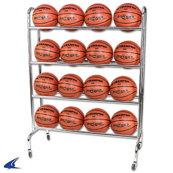 Champro 12 Ball Rack with Casters, Upright (Silver, 41 x 17 x 41) BR12