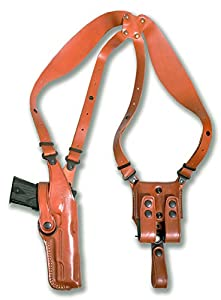 Premium Leather Vertical Shoulder Holster System with Double Magazine Carrier for Springfield TRP 1911 with Rail 5''BBL, Right Hand Draw, Brown Color #1152#