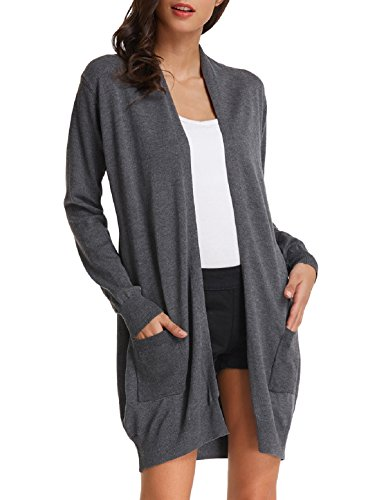 - Basic Simple Knit Cardigan Long Sleeve with Pocket(2XL,Dark Grey)