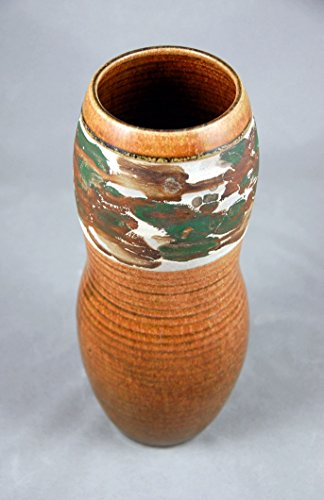 Vase Large Curvy Profile in Sienna with Abstract Exterior Design Band