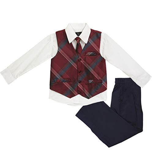 - Vittorino Boys Jacquard 4 Piece Suit Set with Vest Pants Dress Shirt and Tie, Grey Red, 8