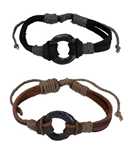Cord Hemp Hippie (New! Circle Leather Bracelet with Hemp Flax Cord | SPUNKYsoul Collection (2 Men's Size))
