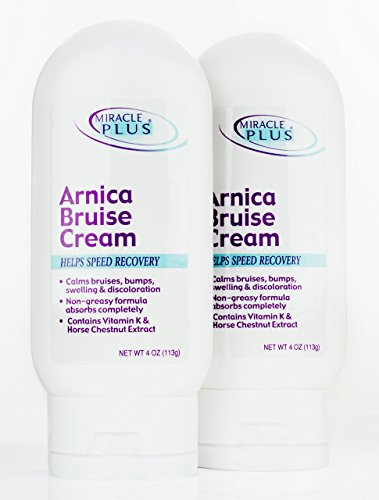 Miracle Plus Arnica Bruise Cream for bruising, swelling, discoloration. (Two - 4oz, Cream)