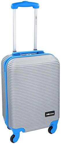 ABS Premium Trolley 31L Koffer Reisekoffer Hartschale Boardcase Handgepäck (Silber/Lila) Silber/Blau
