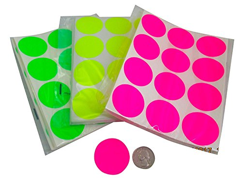 Circle Stickers Color Coding Labels Super Bright Fluorescent Neon Yellow, Green, and Pink Round Circle Dots for Organizing Inventory 1.5 Inch 1,500 Total Adhesive Stickers (500 of Each -