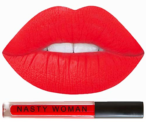 Matte Lipstick Nasty Woman Cosmetics Long Lasting Matte Liquid Lipstick Waterproof (RESISTANCE RED)