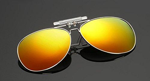 SummitLink Clip on Flip up Sunglasses Over Reading Glasses Orange Color Polarized Invisible Transparent Clip Sunglasses Lenses