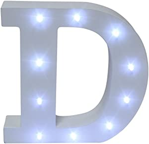 Royal Brands Decorative DIY LED Letter Light Sign - Light Up Wooden Alphabet Letter Battery Operated Party Wedding Marquee Décor - White (D)
