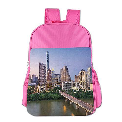 Haixia Kid Boys&Girls School Backpack Modern Austin Texas American City Bridge Over The Lake Skyscrapers USA Downtown Picture by Haixia