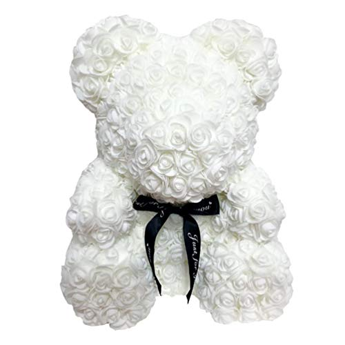 Amosfun Rose Bear Teddy Plush Bear Doll Artificial Flower Ornament with Black Ribbon for Valentines Day Wedding Gift 40cm (White)