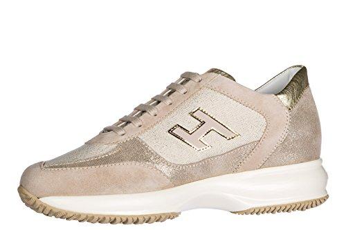 Hogan Scarpe Da Donna Scarpe Da Ginnastica Signore Scarpe Di Camoscio Beige Sneakers Interattivo