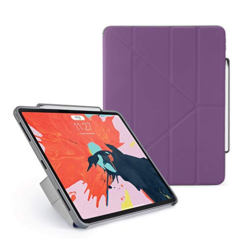 Pipetto New 2018 Smooth iPad Pro 12.9 (3rd Gen) Ruggedised Pencil Case Pencil 2 Sync and Charge Defender Stand Shell Cover for Apple 5 in 1 Folding Position with Auto Sleep/Wake Function - Purple