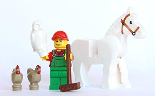 LEGO® City Farm Lot #6 - Farmer, White Horse, Owl, 2 Chickens (White Horse Farm)