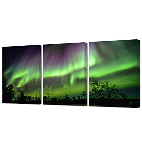 VVOVV Wall Decor Green Northern Lights Wall Art Canvas Prints Aurora Borealis Iceland Picture Painting for Bathroom Bedroom Living Room Decor Framed Ready to Hang -