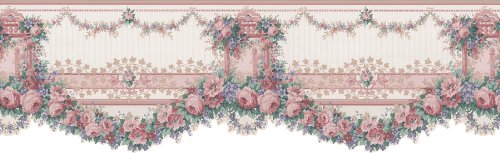 Brewster Mirage 979B12101 Cameo Rose IV Pink Rose Swag Die-Cut Wall Border, 6.75-Inch by 180-Inch (Die Cut Wall Border)